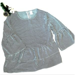 """Navy/White Stripe """"TIME AND TRUE BLOUSE"""" Size M"""